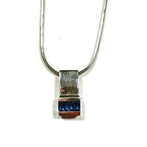 Sterling Silver Sapphire Classic Pendant Necklace